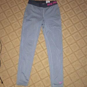 Nike pro gray full length leggings
